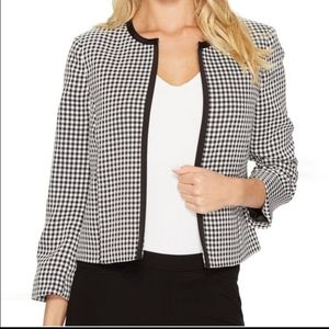 Tahari Black And White Gingham Open Front Jacket